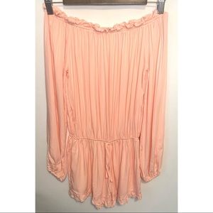 Unbranded pink long sleeved shorts romper size 4